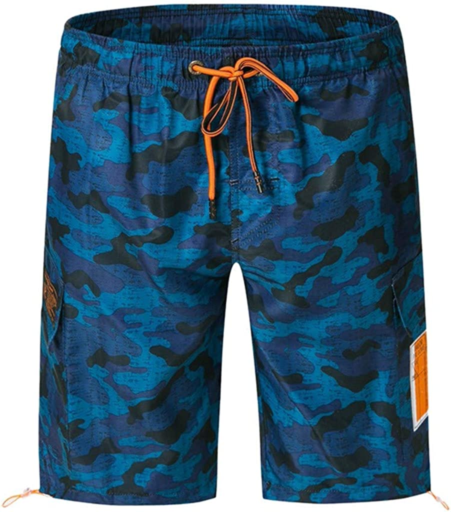 Gergeos Men's Camouflage Printed Swim Trunks Summer Quick Dry Drawstring Surfing Beach Casual Board Shorts