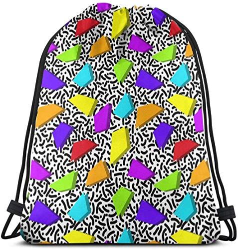 Kordelzug-Tasche im Stil der 80er Jahre, modischer Stil, wasserabweisend, tragbar, langlebig, Turnbeutel, weiches Polyester, für Kinder, Arbeiter, Camper, Sportler