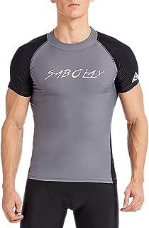 SABOLAY Mens Rash Vest Short Sleeve Swimming T-Shirt Swim Top Rash guard Black UV Shirt