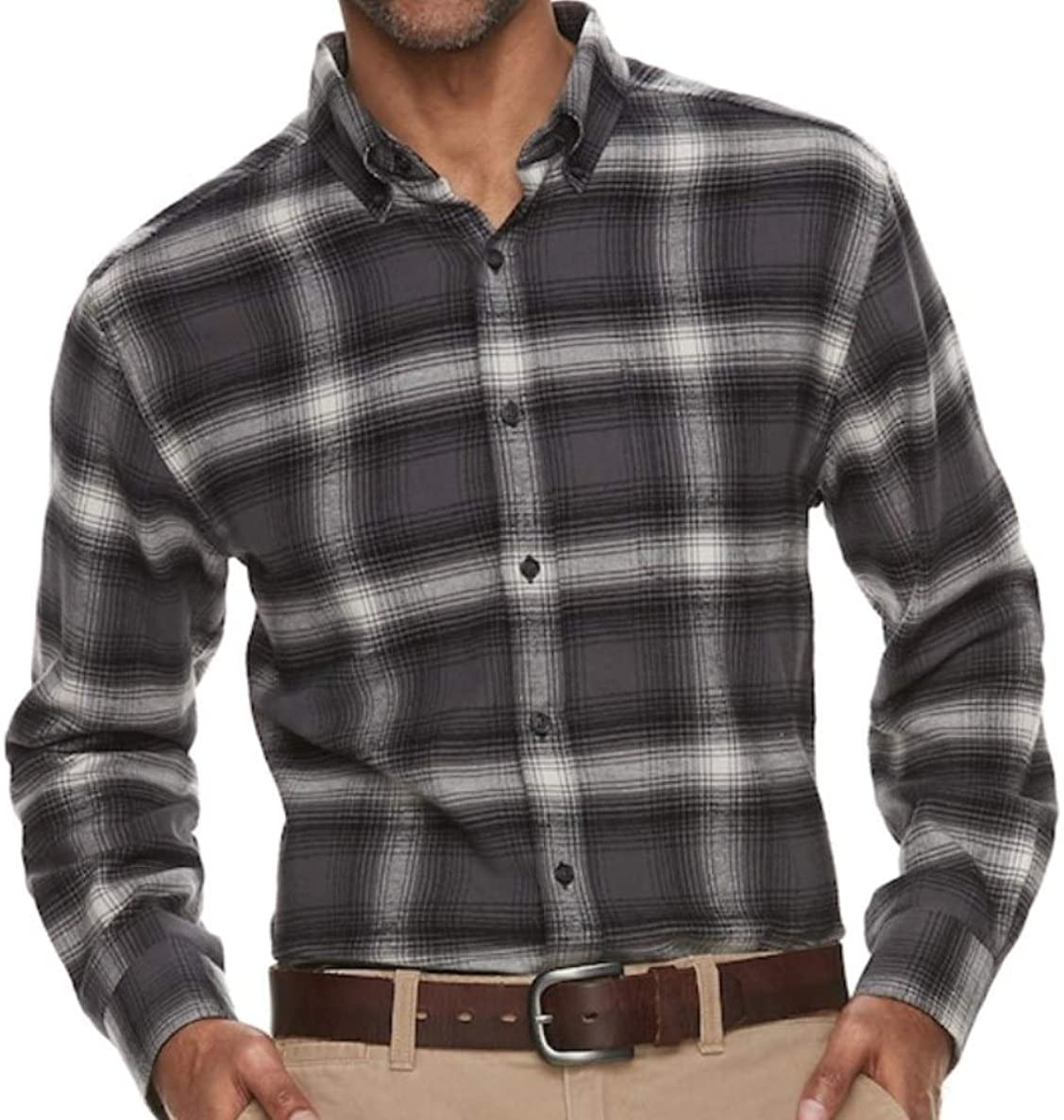 Mens Classic Fit Flannel Shirt Grey Gray Plaid Button Down Long Sleeves