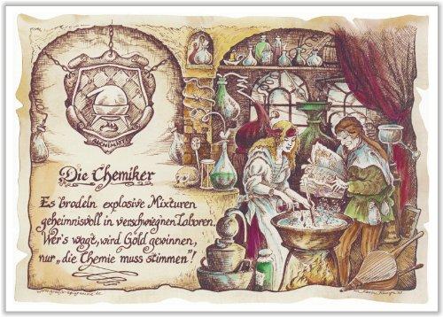 Geschenk Chemiker Laborant Zeichnung Color 20 x 15 cm