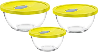 TREO MIXING BOWL 3 PCS WITH LID(COLOURS MAY VARY)