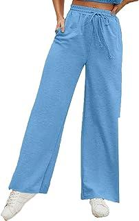 بنطلون رياضي فضفاض للنساء من YKK، بناطيل ذات ألوان ثابتة مقاومة للاهتراء يوميًا مستقيم الساق (اللون: أزرق28، المقاس: M)
