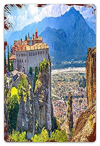 DECISAIYA Retro Blechschild Meteora-Klöster,Griechenland Kalambaka Geschenk-Idee für Nostalgie-Fans,aus Metall,Vintage-Dekoration,20x30cm