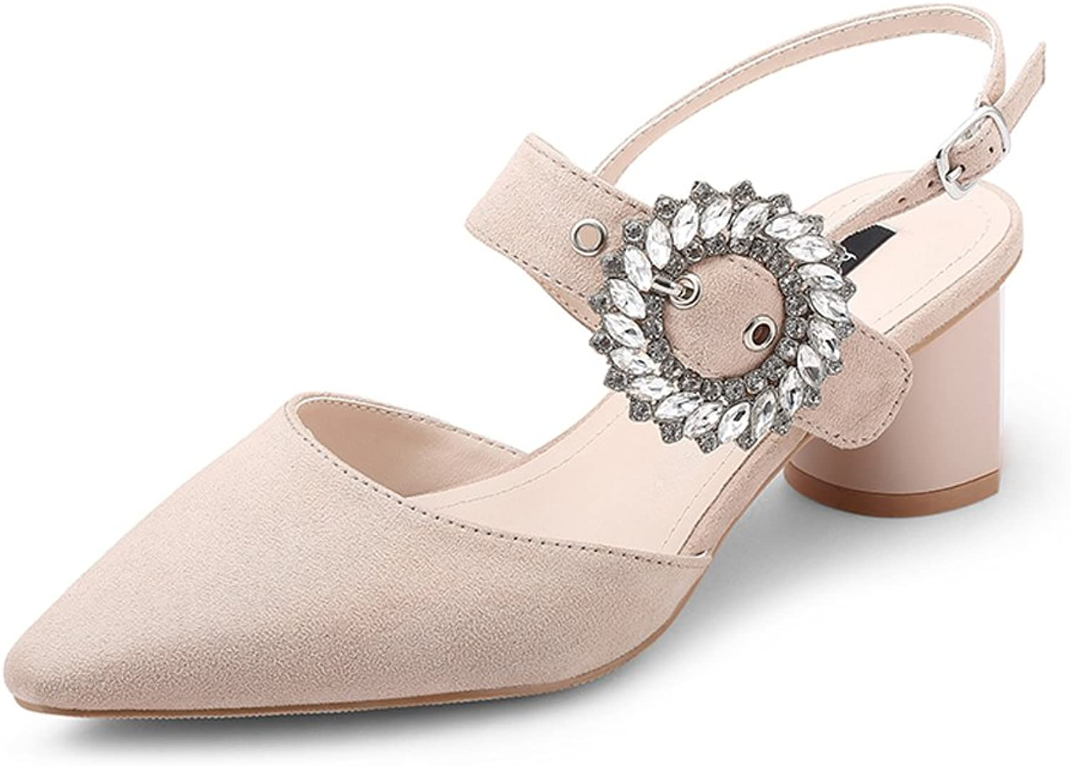 JE shoes Female High Heels Rhinestone Sandals with A Single shoes Korean Version