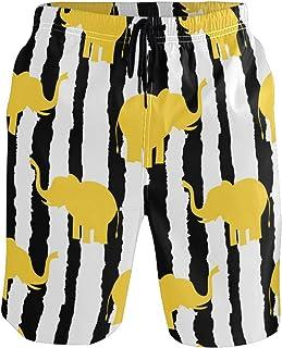 Senwei Stripe Elephant Animal Swim Trunks Short For Men Boys Beach Pants With Pockets