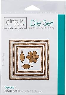 Gina K. Designs for Therm O Web 3 Nested Square Dies Plus Unique Bonus Shape Double Stitch Design Small Set