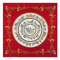 jiao ブランドシルクスカーフ女性スクエアスカーフホースショール&ラップヒジャーブレディバンダナ女性フラール60cm x60cm赤