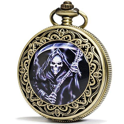 SEWOR Bronze Emaille Craft Muster Japan Quarz-Uhrwerk Taschenuhr mit doppelter Kette (Metall & Leder) (Grim Reaper)