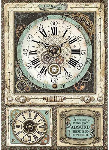 STAMPERIA INTERNATIONAL, KFT Confezione di Carta di Riso A4 VF, Voyages Fantastiques Orologio, taglia unica