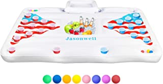 Jasonwell Beer Pong Pool Float - Inflatable Floating Beer Pong Table Party Pool Lounge Raft for Adults with Cooler White 6...