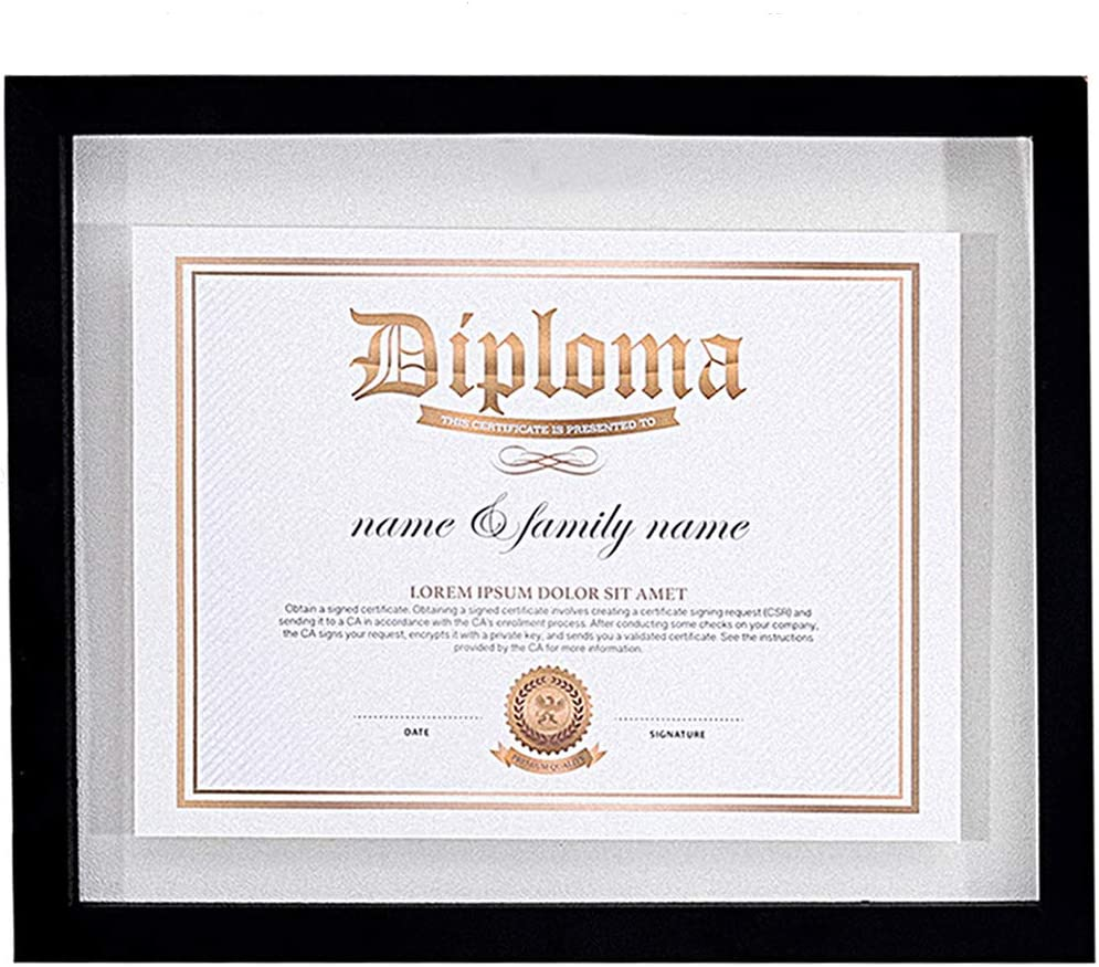 UMICAL Ranking TOP3 11x14 Black Diploma Frame Document Doub with Frames Some reservation Float