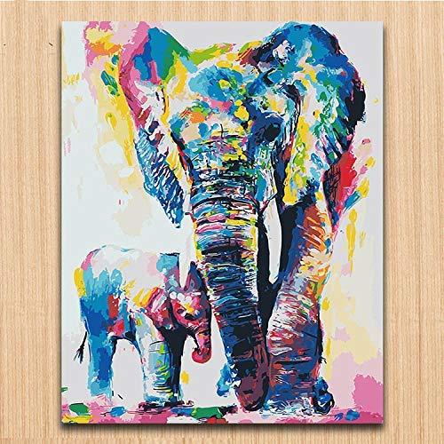 Pintura por números Bricolaje Pintura de bricolaje por animal digital Imagen de acuarela Color Color Dibujos de pintura con bolsa de herramientas sobre lienzo-40X50 (Sin marco) DIY Pintura al óleo