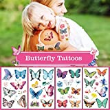 Yarlilyan 80+ Butterfly Tattoos for Kids, Girls Children Birthday Party Favor Temporary Tattoo Sticker, Summer Flower Pink Purple Fake Waterproof tattoo on Body Hand Arm Face 10 Sheets
