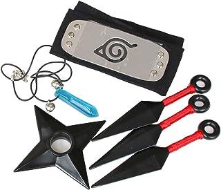 I3C Anime Naruto colier Kunai Konoha Bandeau Pendentif Ensemble pour Ninja Costume, Cosplay Frisbee ABS Plastique 4pcs