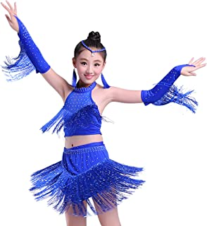 Girls Stretchy Dance Outfits Latin Salsa Ballroom Costumes, 4-13Y