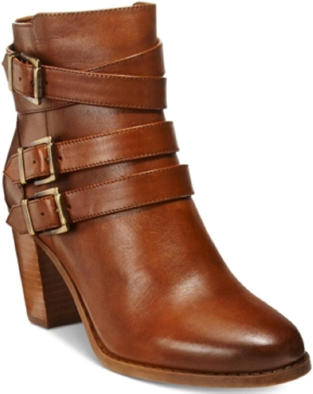 INC International Concepts Womens Laini Block-Heel Ankle Booties Cognac 5 M US