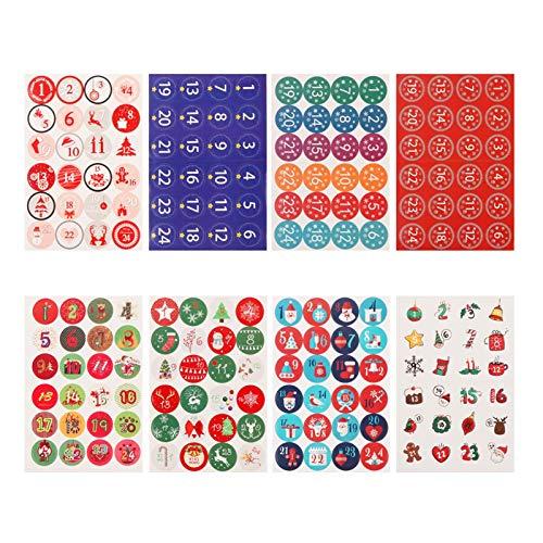 23 tipos de regalos Feliz Navidad Calendario de Adviento Pegatinas Número de papel etiquetas engomadas DIY del regalo etiquetas de los envases de la decoración Calendario de Navidad ( Color : 12 )