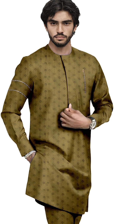 Bazin Riche African Suit for Men Print Coats and Ankara Pants 2 Piece Set Outfits Pure Cotton Plus Size Clothes