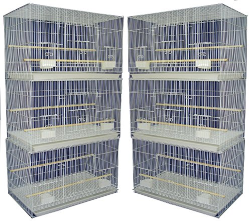 Mcage Lot of 6 Aviary Breeding Bird Finch Parakeet Finch Flight Cage 24' x 16' x 16'H (White)