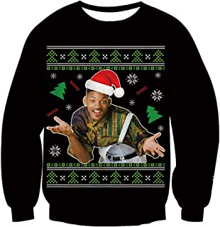 Lifocs Funny Graphic Ugly Christmas Sweater Fresh Prince Sweatshirts Long Sleeve Pullover Jumper for Men Women