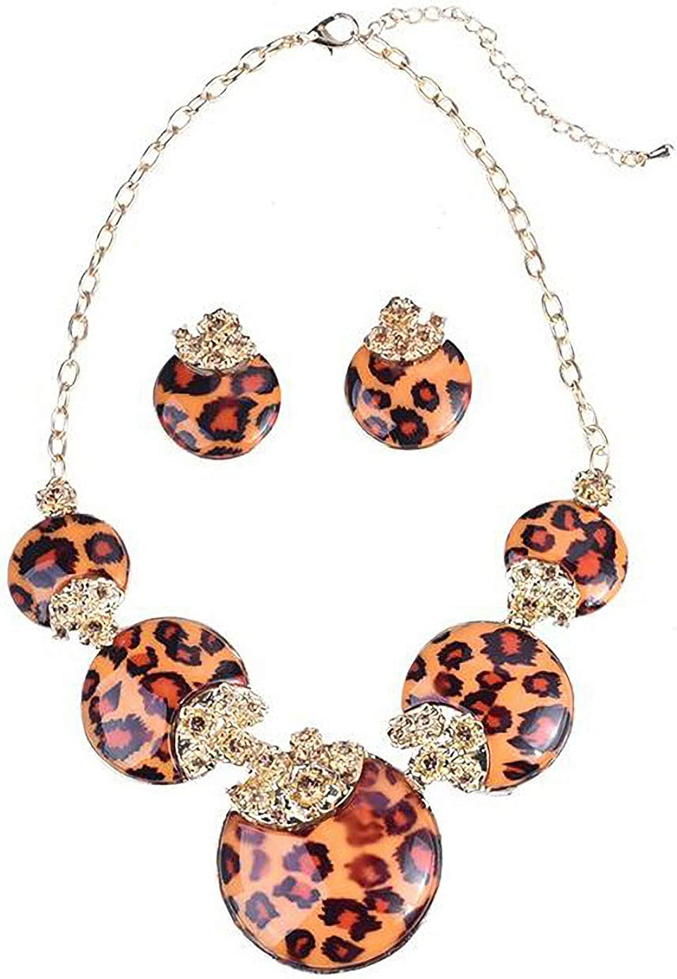 Fenni Vintage Leopard Print Round Pendant Choker Necklace and Earrings Sets Costume Jewelry for Women Bridal