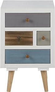 AC Design Furniture 63369 Suwen–Cómoda con cajones multicolores, Blanco
