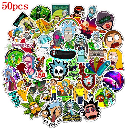 Mosteck Rick and Morty Stickers for Hydro Flask, | 50 PCS | Vinyl Waterproof Stickers for Laptop,Skateboard,Water Bottles,Computer,Phone, Cute Anime Stickers (Rick and Morty)