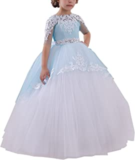 Flower Girls Long First Communion Dresses Kids Pageant Prom Ball Gowns
