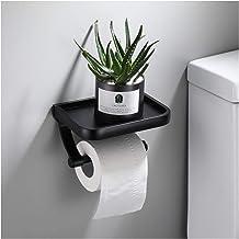 Paper Holder met Phone Holder Aluminium Badkamer rolhouder Aluminium toiletrolhouder Tissueboxen Wall Mounted (Color : Black)