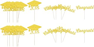 F Fityle 40 Pieces 2018 Graduation Hat Greeting Mantecado Cake Cake Toppers Grad Decoration