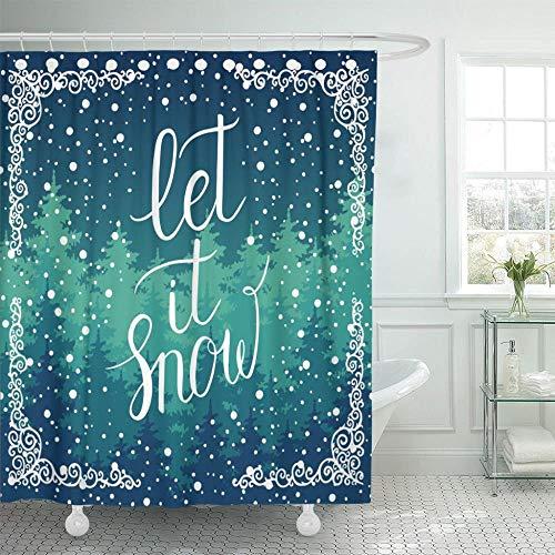 TYZM Navidad Invierno Vacaciones Paisaje con Letras a Mano Árboles Copos de Nieve Cortinas de Ducha Que Caen Impermeable