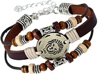 Leo 12 Zodiac Jewelry with Lobster Clasp Handmade Lover Leather Bracelet