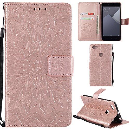 Ooboom® Xiaomi Redmi Note 5A Prime Hülle Sonnenblume Muster Flip PU Leder Schutzhülle Handy Tasche Hülle Cover Stand mit Kartenfach für Xiaomi Redmi Note 5A Prime - Rose Gold