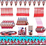 Nesloonp Conjunto de Suministros de Fiesta de Ladybug,94 Piezas Suministros Fiestas Set, Juego Vajilla Fiesta Cumpleaños Papel, Vajilla Cumpleaños Decoracion para Niños(10 Personas)