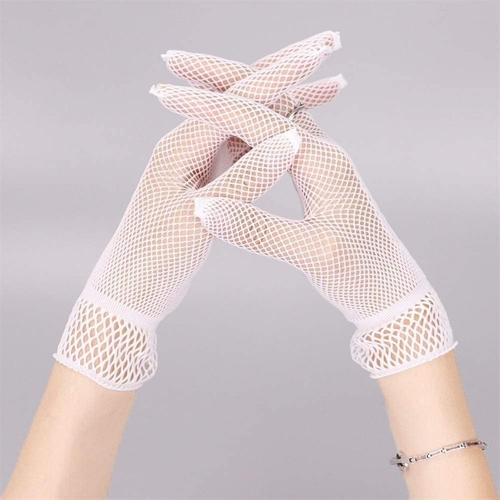 FASGION 1 Pair Fishnet Mesh Glove Fashion Women Lady Girl Glove Protection Lace Elegant Lady Style Gloves Black and White (Color : White)