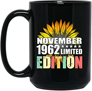 echip Ceramic Coffee Mug 15oz Birthday Gift Sunflower Vintage November 1962 Limited Edition Personalized Gift For Daddy Mommy Son Daughter Grandma Grandpa Kids Gift On Anniversary - Black Tea Cup