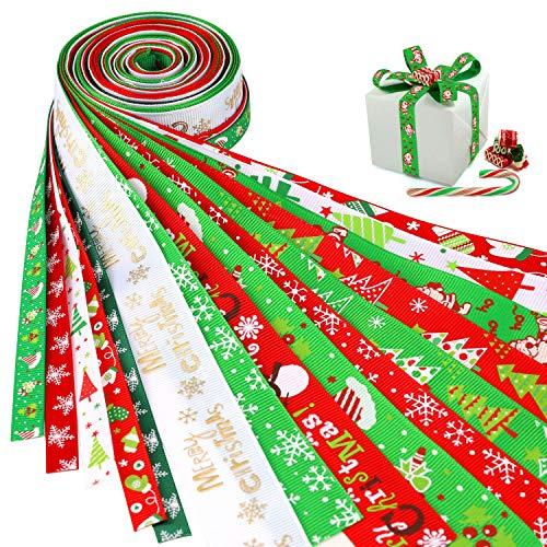 HOWAF 16 Pezzi Nastri Natalizi Decorazione Nastro in Raso di Grosgrain per Decorazioni Natale, Regalo di Natale, creazione di Archi per Capelli, Decorazioni Artigianali per Matrimoni
