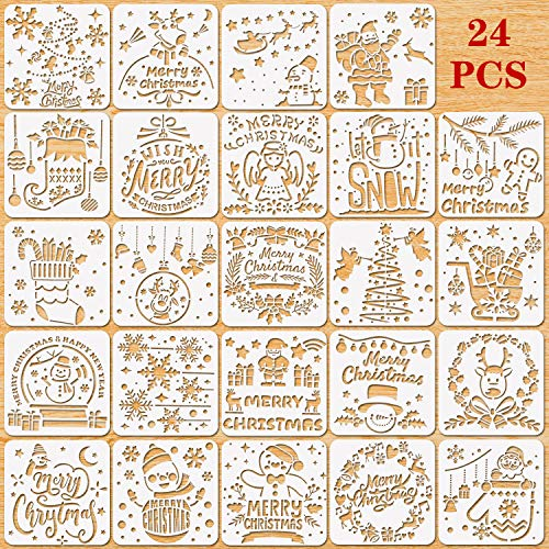 Xmas Stencils for Greeting Cards Konsait 12 Pack Christmas Stencils for Painting Notebook Albums Reusable Plastic Craft Painting Template on Wood Wall Art Journal Scrapbook Winter Home Decor