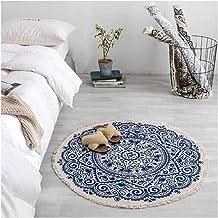 Ronde katoenen gebied RUG Geweven zacht tapijt met kwastjes machine wasbare hand geweven vloermat tapijten (Size : 150cm)...