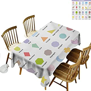 Xlcsomf Dust-Proof Long Tablecloth Educational Machine Washable Classical Basic 2D Shapes Colorful Design Cartoon Style Children Learning Study Multicolor,W40 xL60