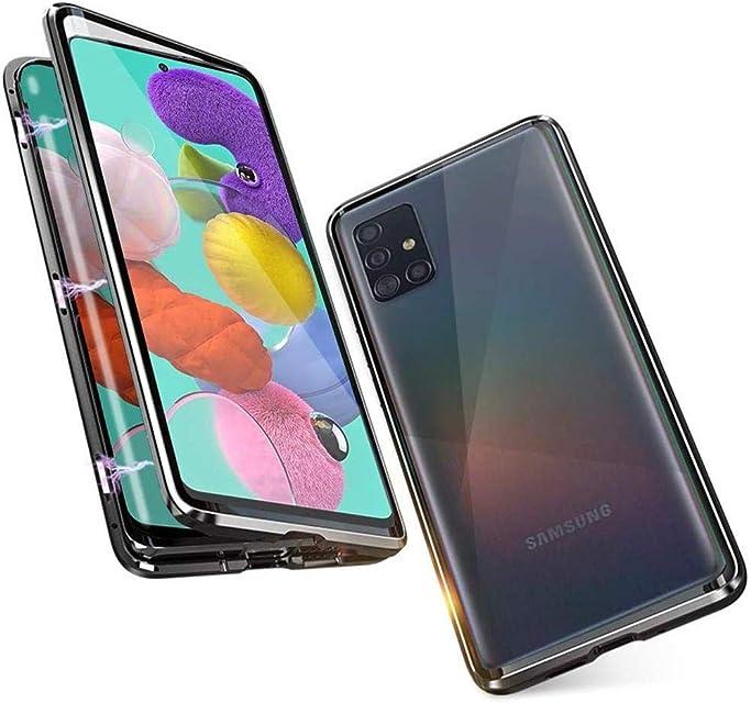 OnlyCase Funda para Samsung Galaxy A51 360 Grados Delantera y Trasera de Transparente Vidrio Templado Case Cover Fuerte Tecnología de Adsorción Magnética Metal Bumper Cubierta - Negro