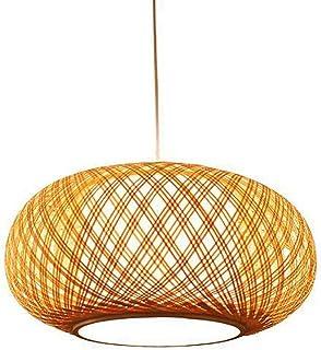 Yilingqi-1 Lampadario Minimalista Nordico Stile Vintage Paralume in Rattan Fatto a Mano Soggiorno Sala da Pranzo Giardino Sala da t/è lampadario a Lanterna Rotonda,60CM