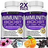 Immunity Boost Immune Support Supplement – 1650mg Made with Elderberry, Vitamin C, Zinc, Echinacea & Probiotics for Immune System Booster, Support Healthy Respiratory System, For Adults, 2x 90 Capsule
