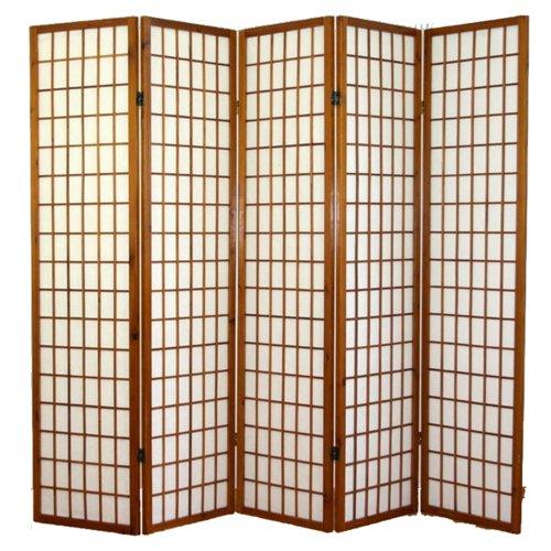 PEGANE Paravent Japonais Shoji en Bois Brun foncé de 5 pans L220 x H175 x P2 cm