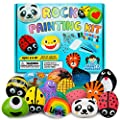 Deluxe Rock Painting Kit - Colorful Art Supplies Set for Children and Tweens - Safe Non-Toxic Educational Toy - Arts and Crafts for Kids Ages 6-12 - Includes Brushes, Googly Eyes, Transfer Stickers