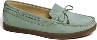 Driver Club USA Women's Leather Made in Brazil Boat Shoe with Tiebow Detail, Baby Blue Nubuck/Natural Sole, 5.5 M US