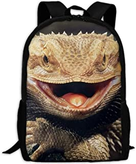 School Backpack Bearded Dragon Lizard Sky Blue Casual Travel Bag For Teen Boys Girls Bearded Dragon Lizard