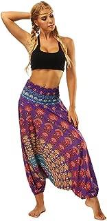 Zegeey Women's Casual Loose Yoga Trousers Baggy Boho Aladdin Jumpsuit Harem Pants Yoga Pants With Neck Head Comfy Pants