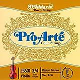 Cuerda individual Mi para violín Pro-Arte de D'Addario, escala 3/4, tensión media.